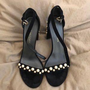 Stuart Weitzman black sandals with pearls